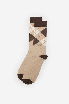 Cortefiel Organic cotton diamond socks Brown