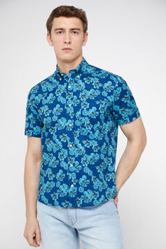 Cortefiel Flower print shirt Blue