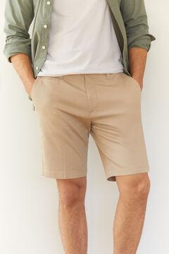 Cortefiel Piqué textured chino Bermuda shorts Camel