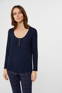 Cortefiel Ribbed Henley neck t-shirt Navy