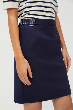 Cortefiel Straight skirt with elasticated waist Navy