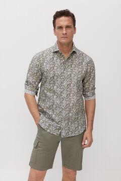 Cortefiel Camisa estampada lino algodón Verde
