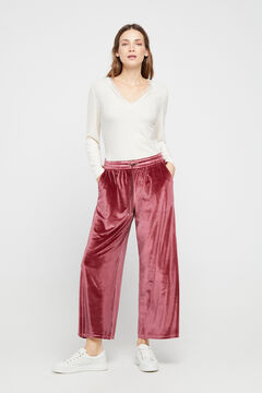 Cortefiel Wide leg cropped velvet trousers Fuchsia