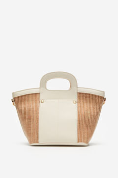 Cortefiel Small basket bag White