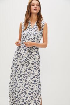 Cortefiel Printed piqué dress Natural
