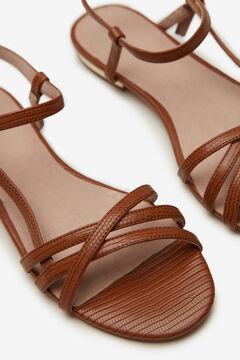 Cortefiel Flat asymmetric strap sandal Tobaco