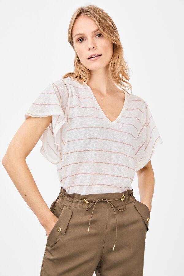 Cortefiel Camiseta efecto lino raya lúrex Rosa. Comprar d6b00ecae1c71