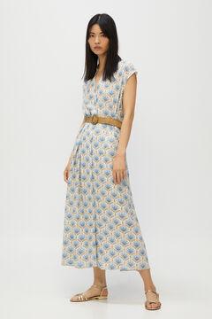 Cortefiel Long printed dress Ecru