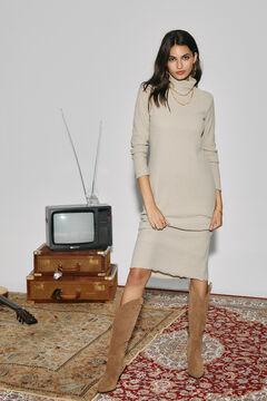 Cortefiel Ribbed jersey-knit dress Vanilla