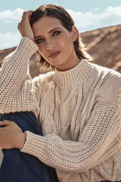 Cortefiel Cable knit jumper  Ecru