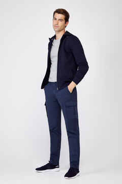 Cortefiel Slim fit cargo trousers  Navy