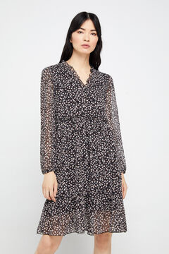 Cortefiel Long-sleeved printed short dress Black