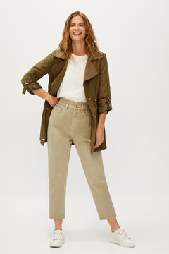 Cortefiel Mom jeans elasticated waistband Khaki