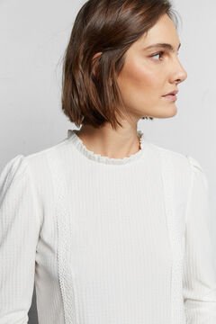 Cortefiel Textured lace top White