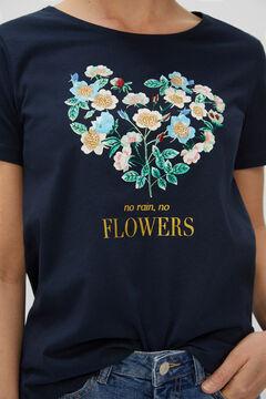 Cortefiel Floral printed t-shirt Navy