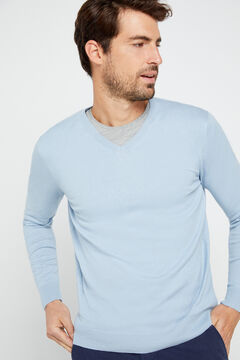 Cortefiel Organic cotton V-neck jumper Light blue