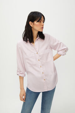 Cortefiel 100% Lyocell cargo shirt Plum