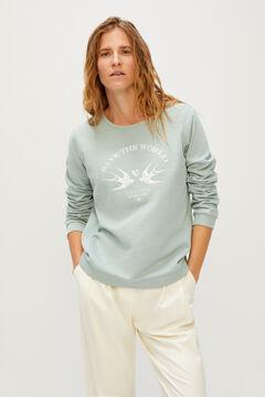 Cortefiel Sweatshirt estampada Verde
