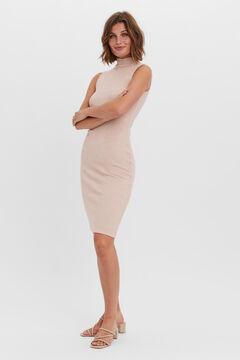 Cortefiel Jersey-knit midi dress Tobaco