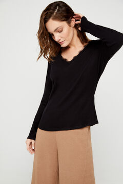 Cortefiel Soft feel lace T-shirt Black