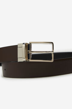Cortefiel Reversible leather belt Black