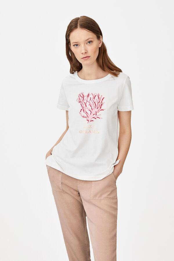 8ca7504f7555 Cortefiel Camiseta estampado aplicación Blanco · Comprar