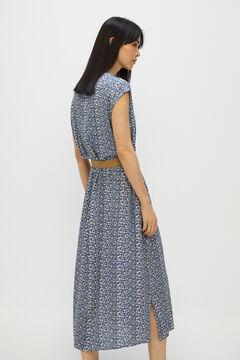 Cortefiel Long printed dress Blue