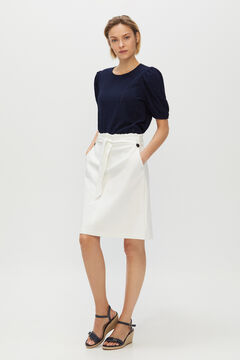 Cortefiel Short skirt with tie waist belt White