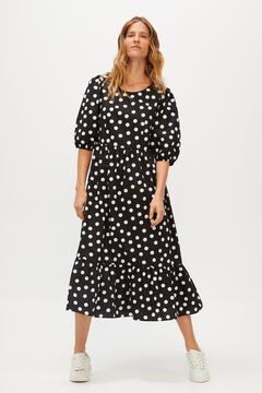 Cortefiel Flounced polka-dot dress Black
