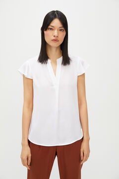 Cortefiel Printed floaty blouse White