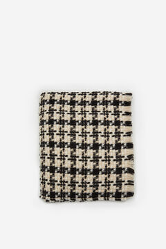 Cortefiel Beige and black houndstooth foulard Ecru