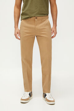 Cortefiel Textured slim fit trousers with elasticated waist Camel