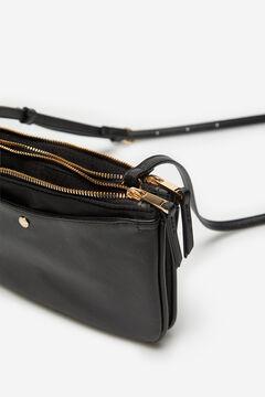 Cortefiel Nylon double crossbody bag Black