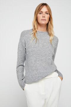 Cortefiel Pearl appliqué jumper Grey