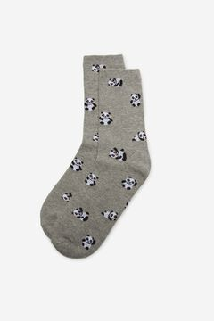 Cortefiel Long panda print socks Gray