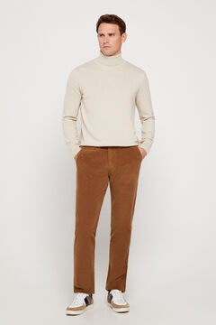 Cortefiel Regular fit corduroy chinos with elastane Mole