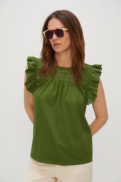 Cortefiel Lace flounce t-shirt Bordeaux