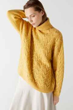 Cortefiel Pullover with diagonal braids Yellow