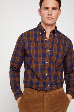 Cortefiel Casual checked organic cotton shirt Turquoise