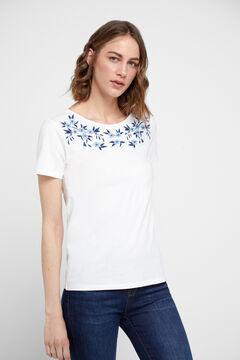 Cortefiel Camiseta lúrex botones Blanco