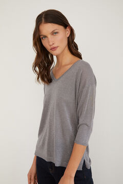 Cortefiel Lurex V-neck jumper Gray