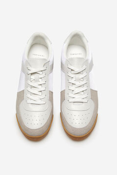 Cortefiel Nylon and leather sneaker with rubber sole White