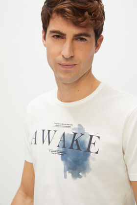 Cortefiel Camiseta estampada manga corta Blanco