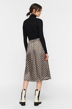 Cortefiel Printed midi skirt Royal blue