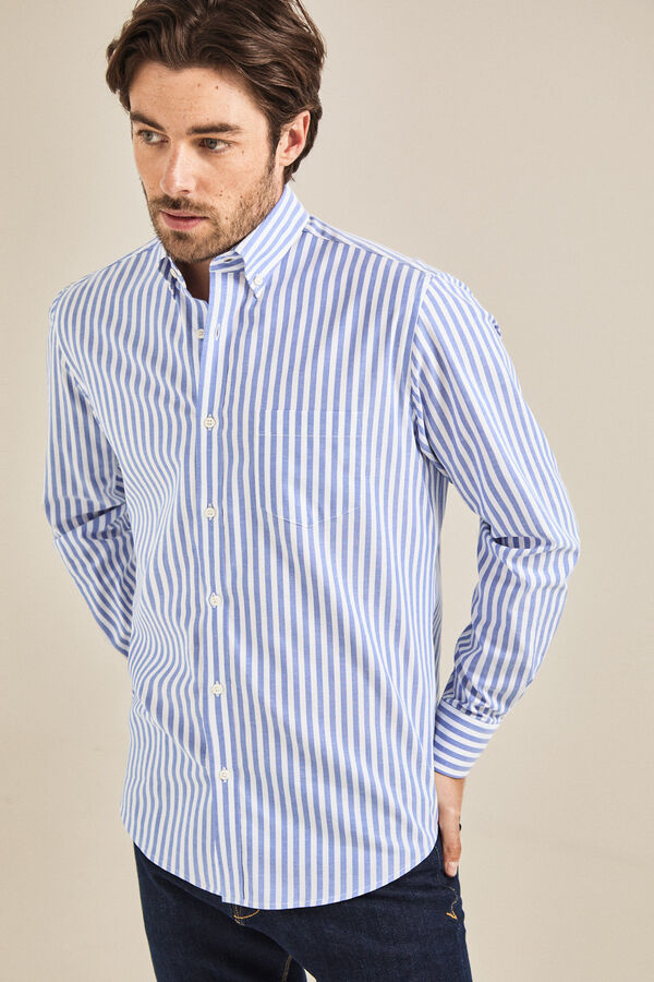 Cortefiel Camisa rayas classic fit Azul 78696f46351