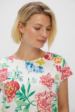 Cortefiel Printed sleeveless t-shirt White