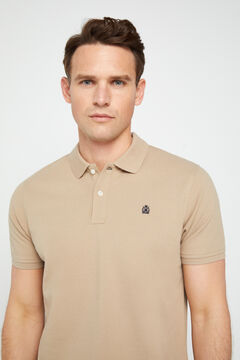 Cortefiel Short-sleeved logo polo shirt Camel