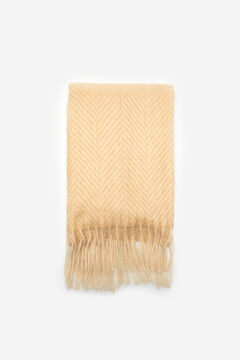 Cortefiel Medium herringbone textured scarf Mink