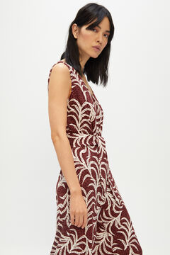 Cortefiel Printed jersey-knit jumpsuit Fuchsia