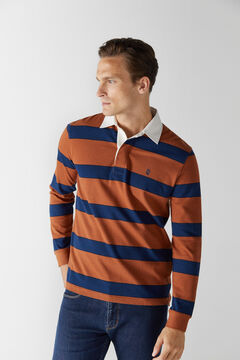 Cortefiel Striped long-sleeved polo shirt Red